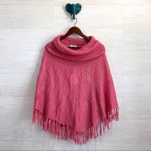 Guess Mohair Blend Lavish Rose Poncho Sweater